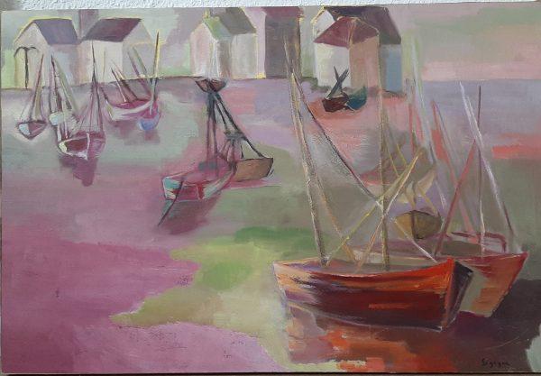 Hôtes et artistes en poitou - Port de Pêche - Huile sur papier