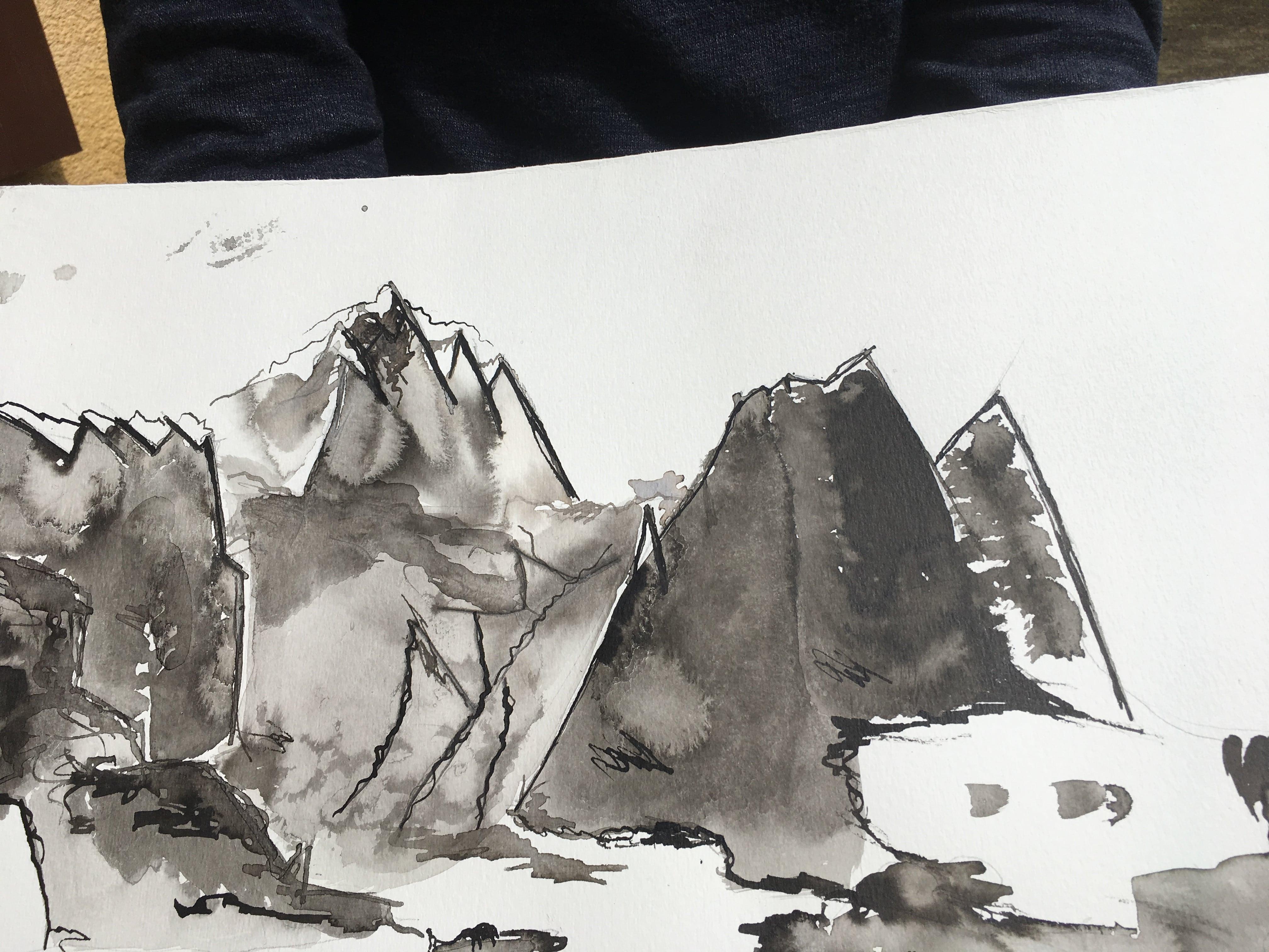 Hôtes et artistes en poitou - Armelle de Segogne Professeur de peinture découverte encre de chine élève