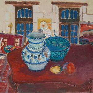 Hôtes et artistes en poitou - Atelier d'Huismes - Huile sur toile