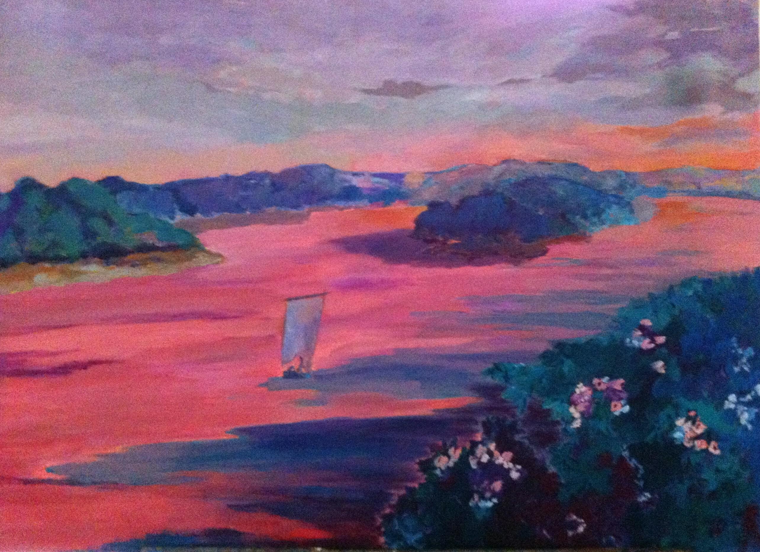 Hôtes et artistes en poitou - Aurore sur la Loire à Bréhémont - Huile sur toile