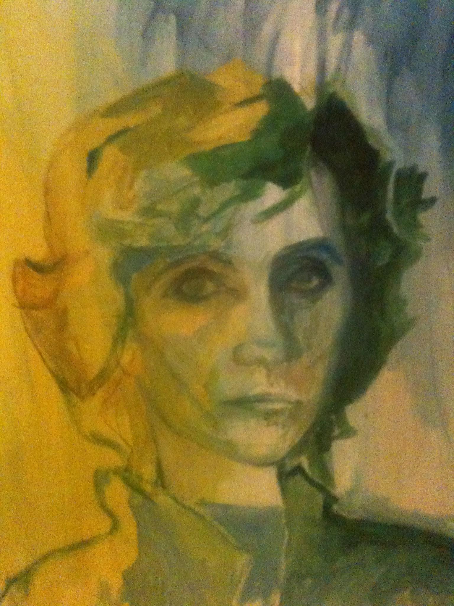 Hôtes et artistes en poitou - Autoportrait, huile sur papier