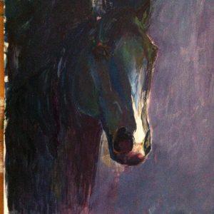 Hôtes et artistes en poitou - Cheval noir - Pochade sur papier
