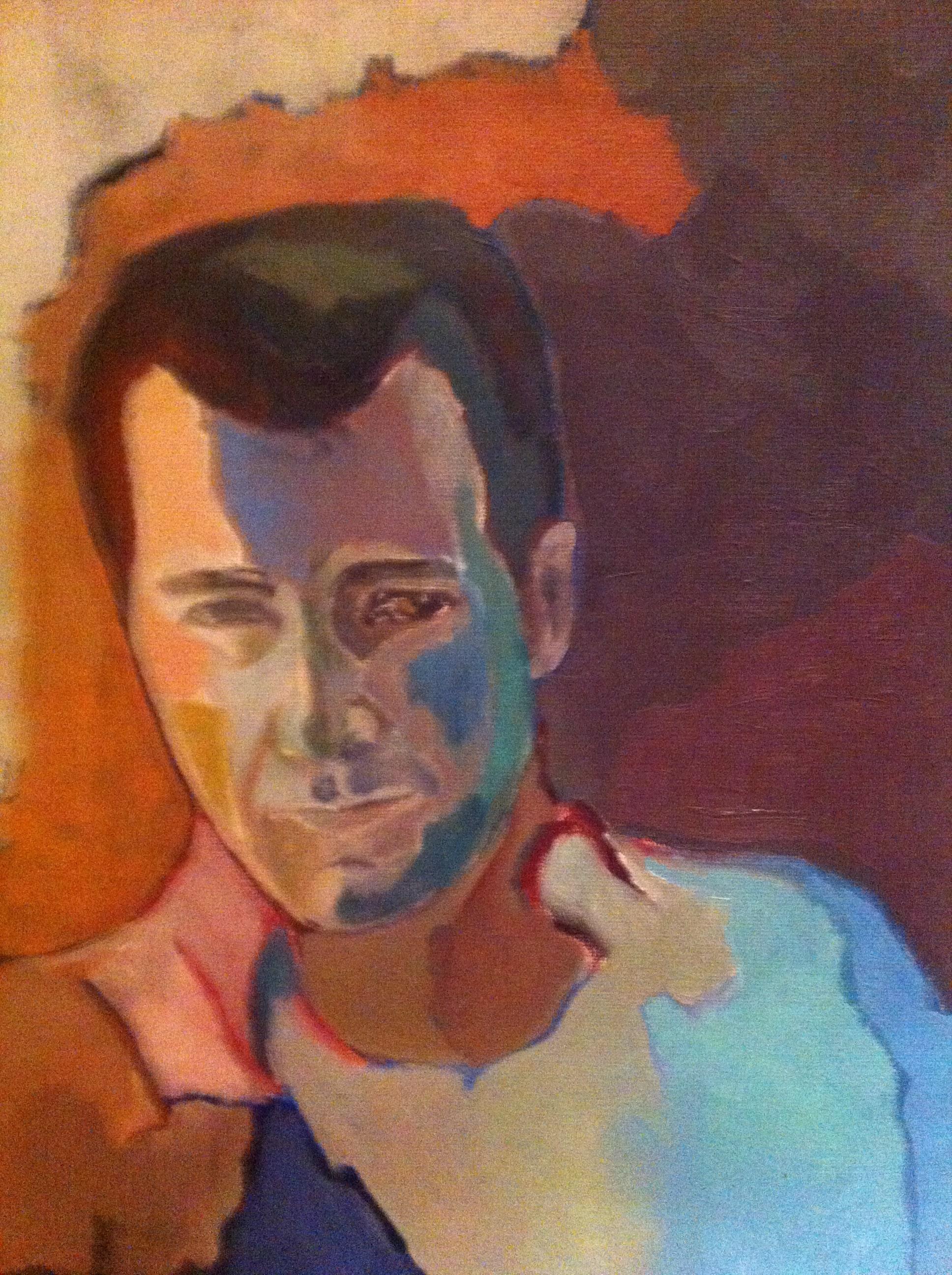 Hôtes et artistes en poitou - Clive Owen, huile sur toile