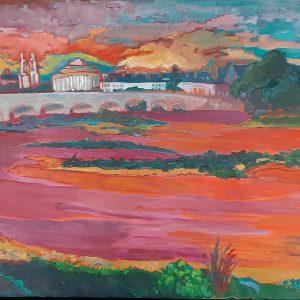 Hôtes et artistes en poitou - Coucher de Soleil sur la Loire à Tours - Pont Colbert - Huile sur Toile
