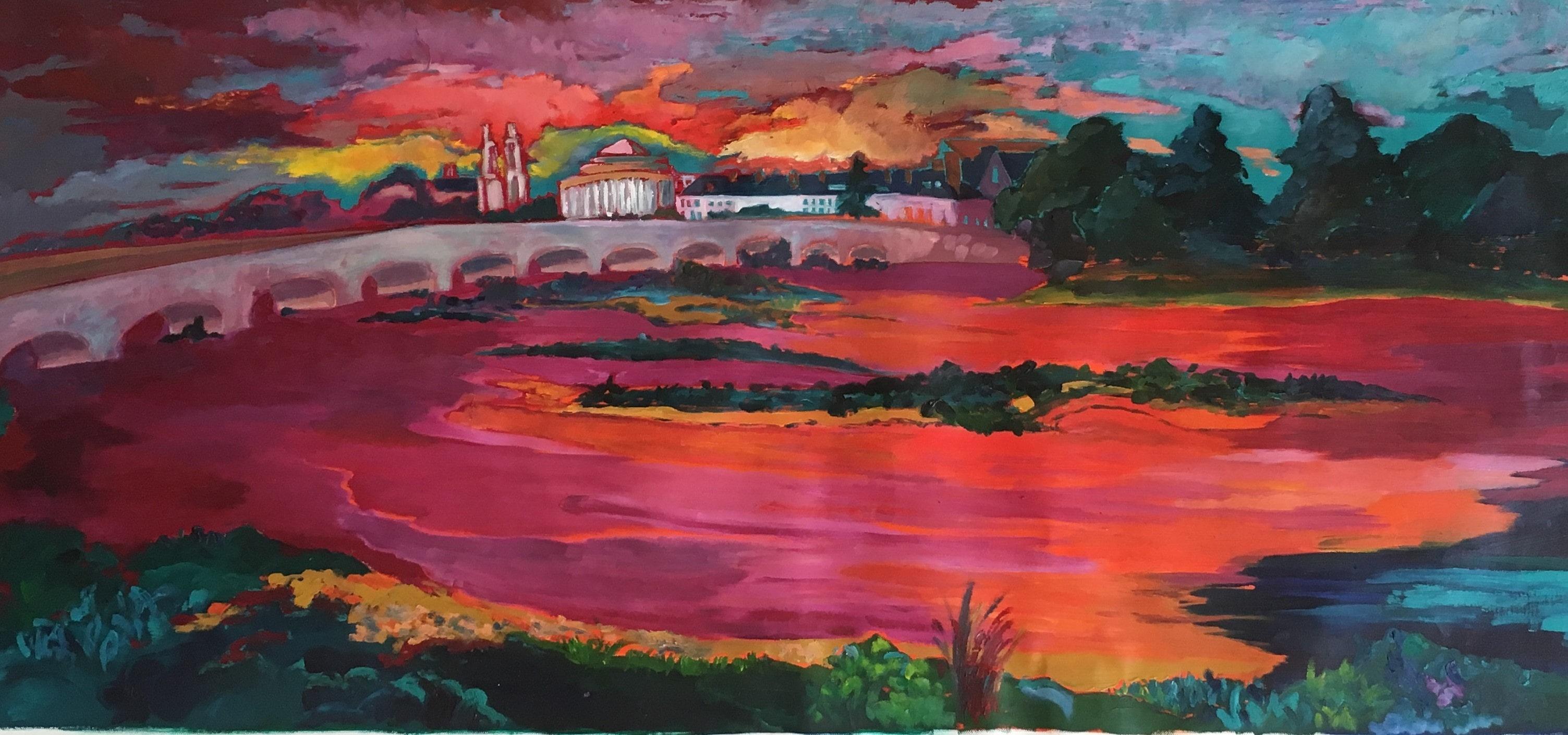 Hôtes et artistes en poitou - Coucher de soleil sur la Loire - Pont Colbert