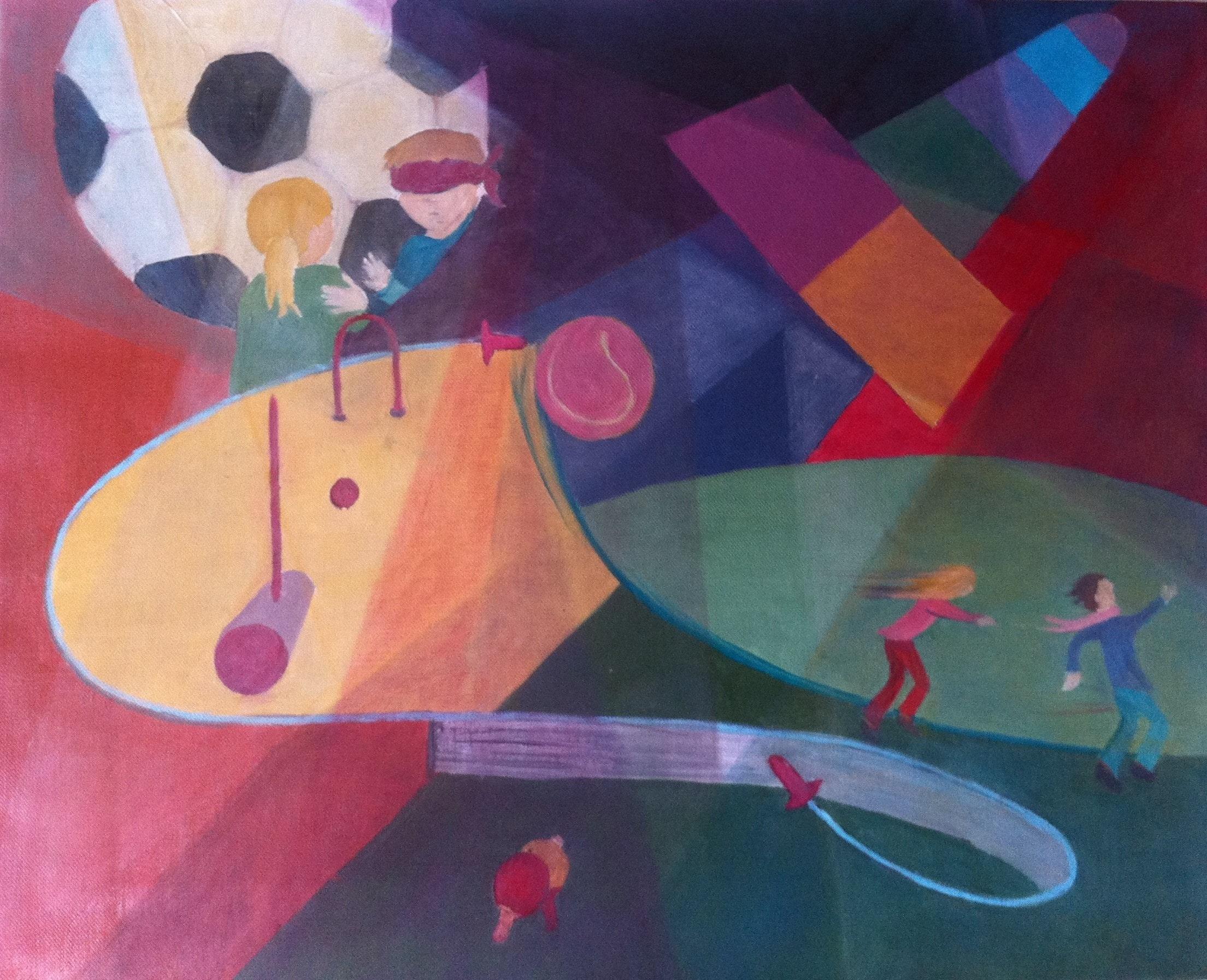 Hôtes et artistes en poitou - Jeux d'extérieur, huile sur toile
