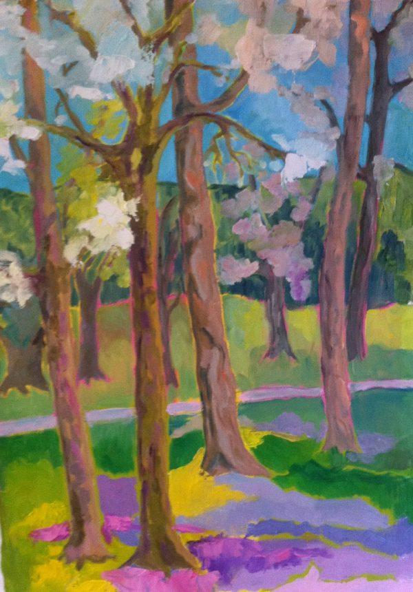 Hôtes et artistes en poitou - Le Parc de la Villaumaire 1, printemps, huile sur toile