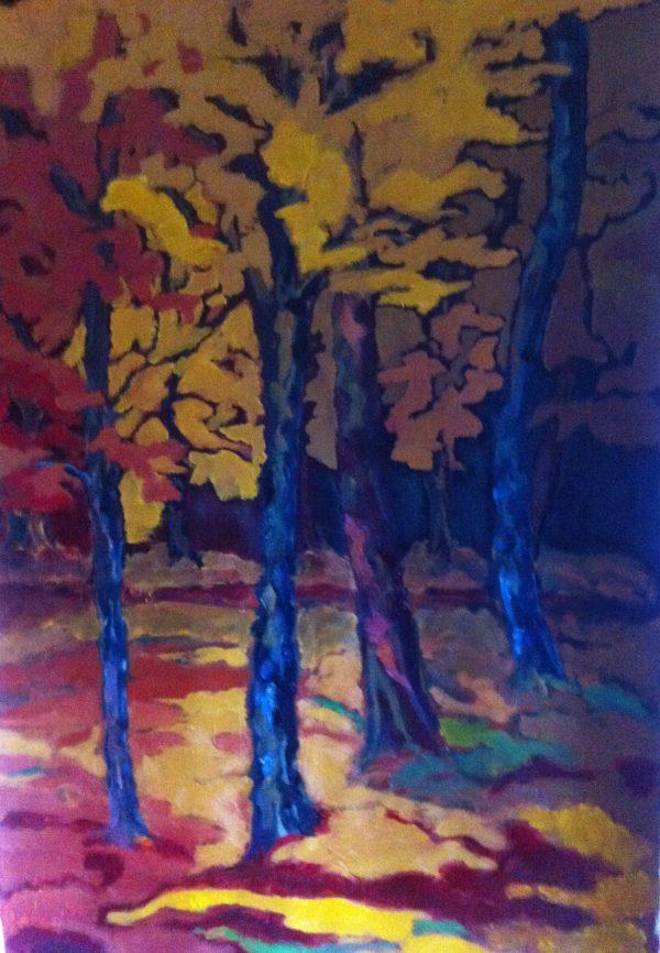 Hôtes et artistes en poitou - Le parc de la Villaumaire 3 - automne, huile sur toile