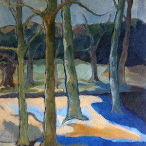 Hôtes et artistes en poitou - Le parc de la Villaumaire 4 - hiver, huile sur toile