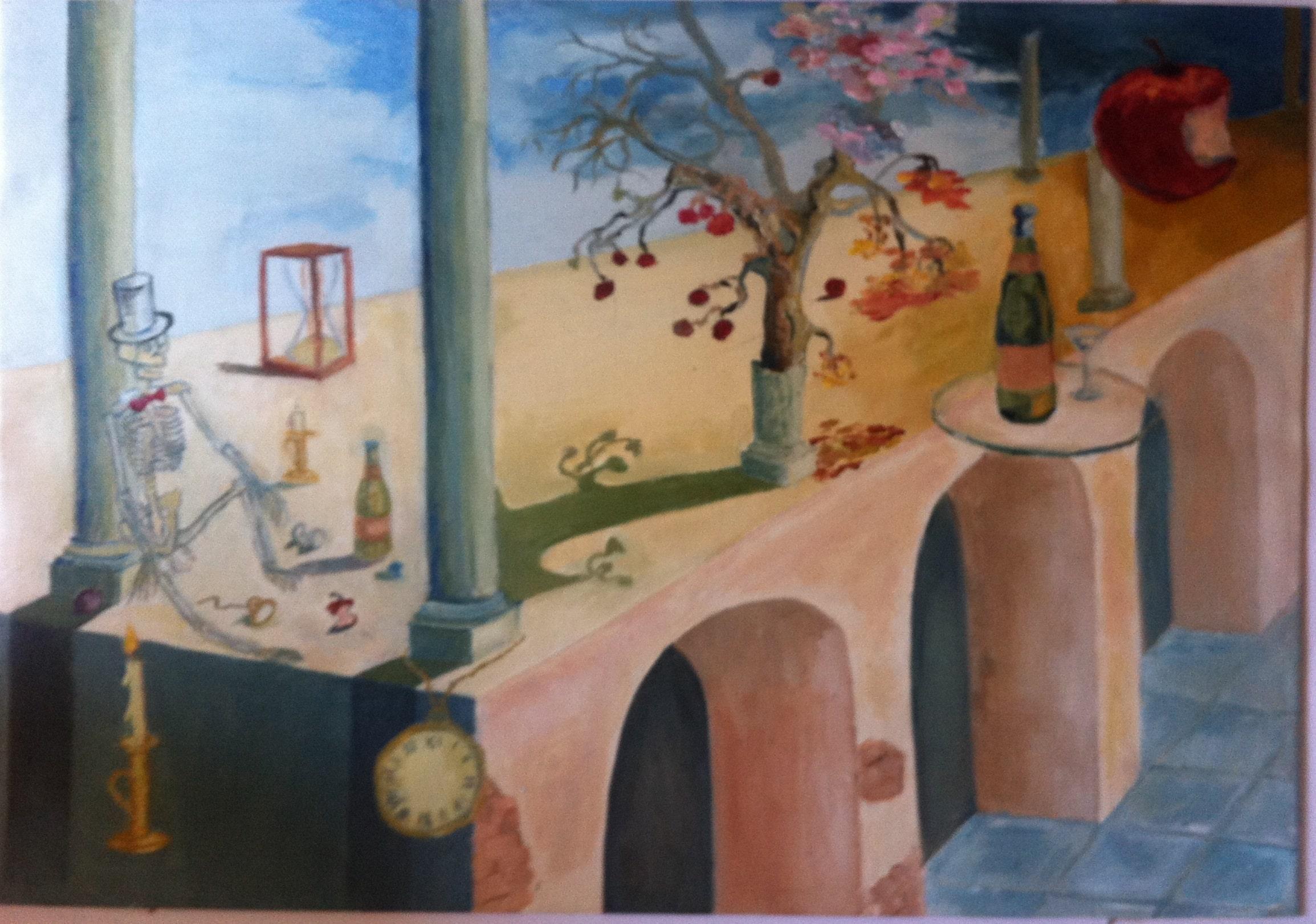 Hôtes et artistes en poitou - Le temps qui passe (fantaisie surréaliste), huile sur toile