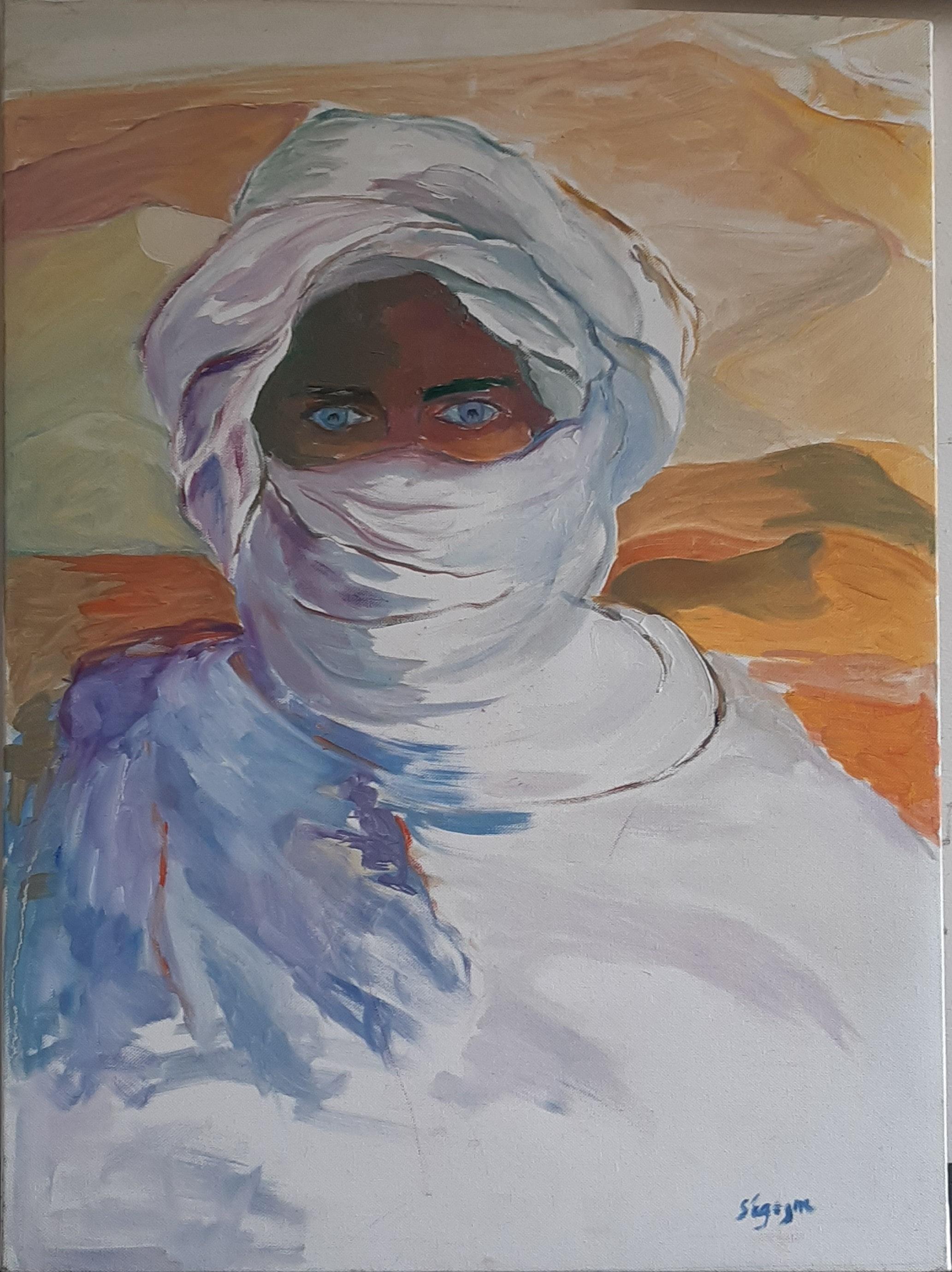 Hôtes et artistes en poitou - L'homme du Désert - Huile sur Toile