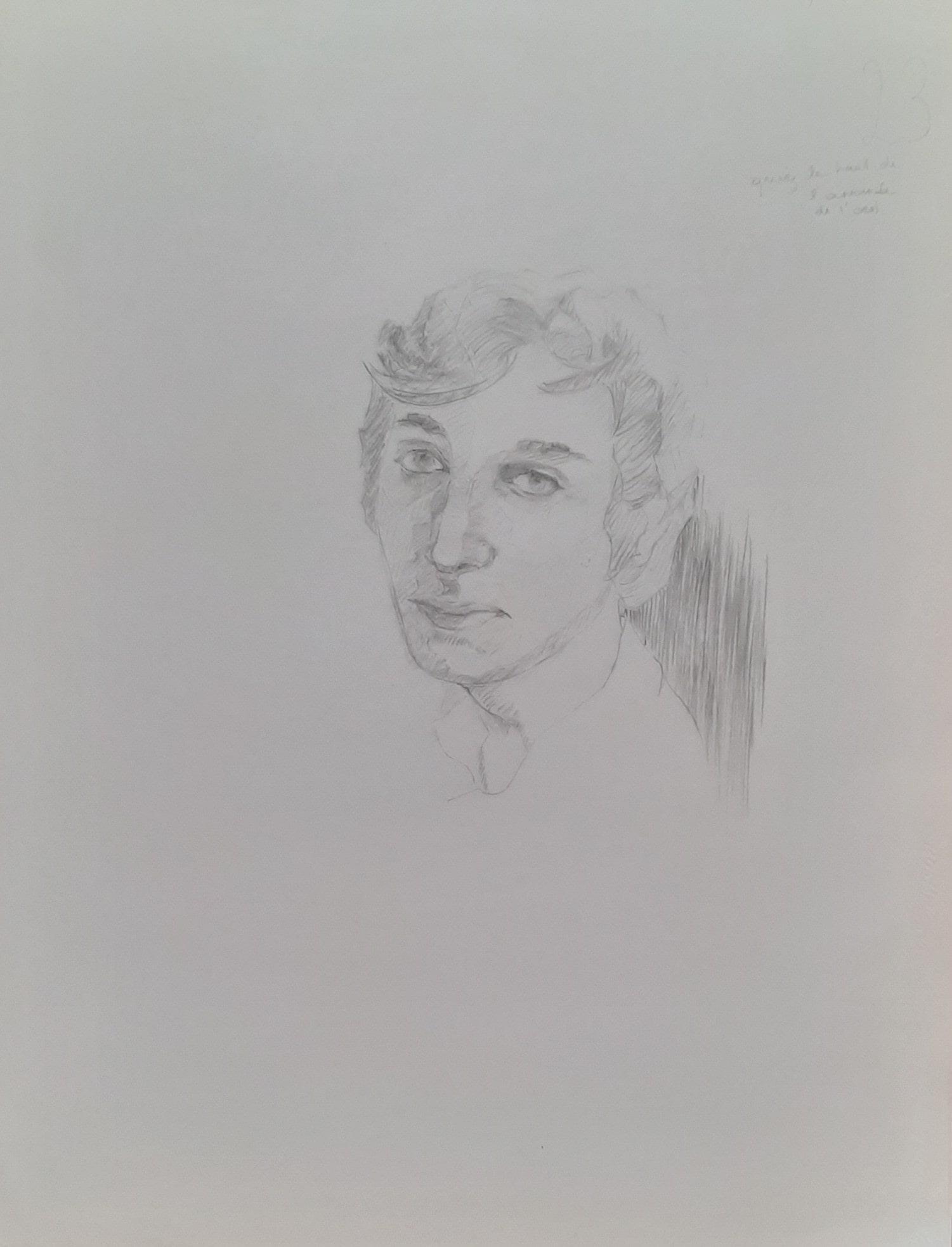 Hôtes et artistes en poitou - Portrait de Victor - Prototype - Dessin au Crayon de Bois