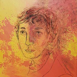 Hôtes et artistes en poitou - Portrait de Victor - Prototype - Dessin au Fusain sur Acrylique