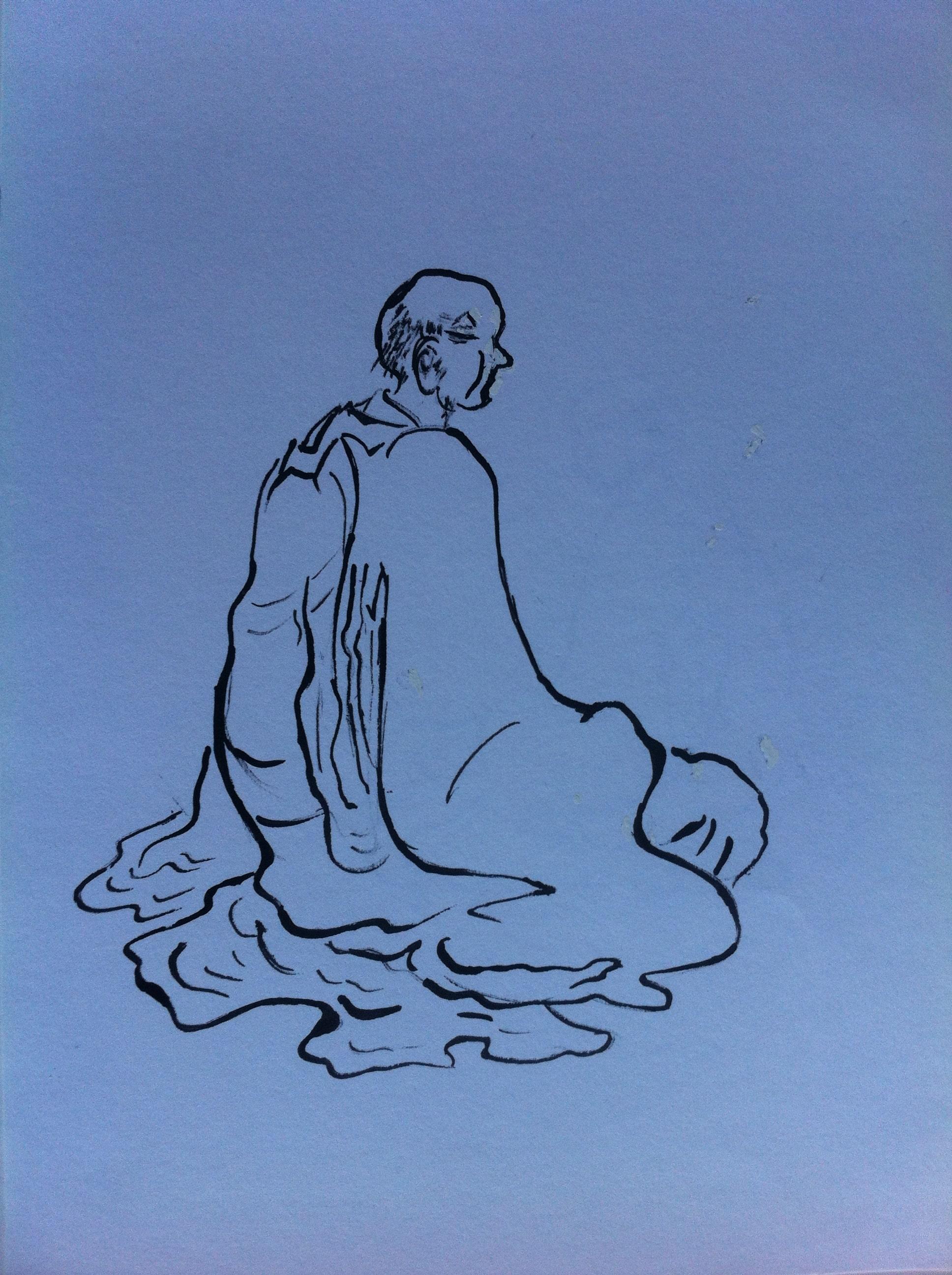 Hôtes et artistes en poitou - Sage chinois, encre de Chine sur papier