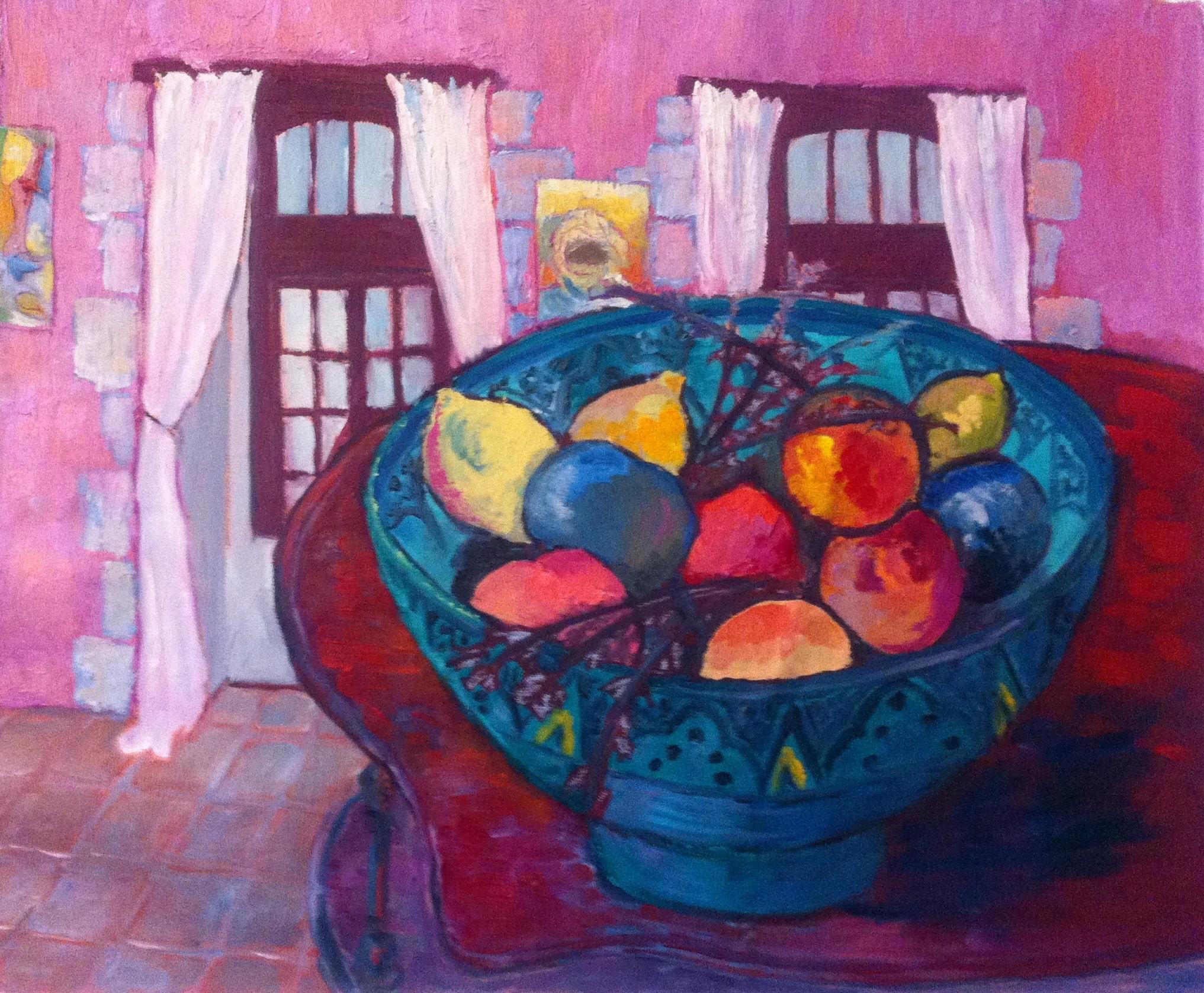Hôtes et artistes en poitou - Vasque de fruits - huile sur toile