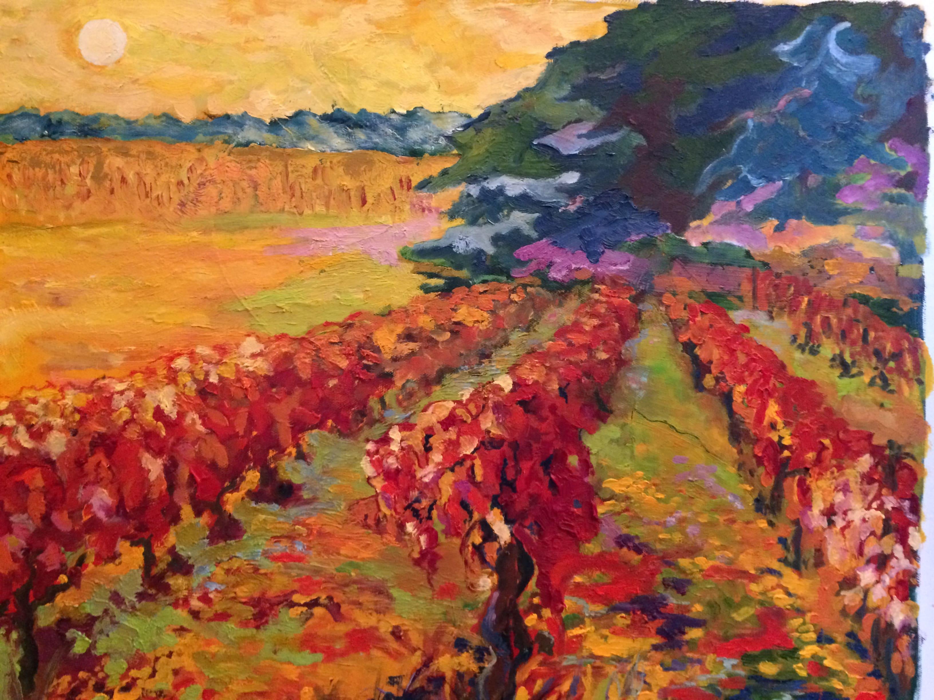 Hôtes et artistes en poitou - Vigne rouge à Huismes, huile sur toile. Bienvenue aux Buis, une charmante gentilhommière du XVIIe siècle, située dans la vallée de l'Auxance, entre le centre de Poitiers et le Futuroscope ; entre la capitale mondiale de l'Art Roman et l'un des premiers parcs d'attraction de France. A vos pinceaux ! Armelle de Ségogne, artiste peintre et professeur de peinture, vous invite à partager sa passion à l'occasion d'échanges artistiques, ou de stages de peinture à thèmes. L'Atelier Raphaël est ouvert à tous toute l'année pour des cours de dessin et peinture.