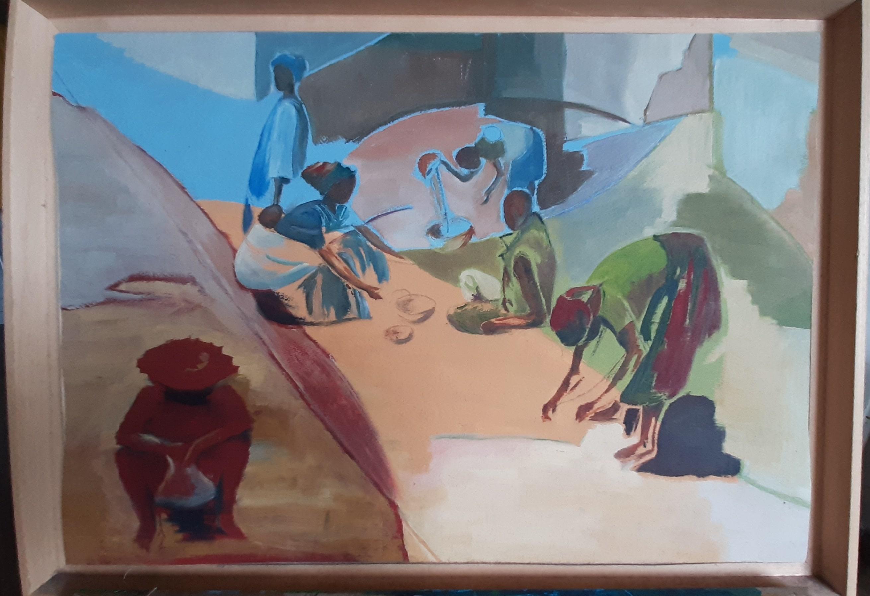 Hôtes et artistes en poitou - Village Africain - Huile sur Papier