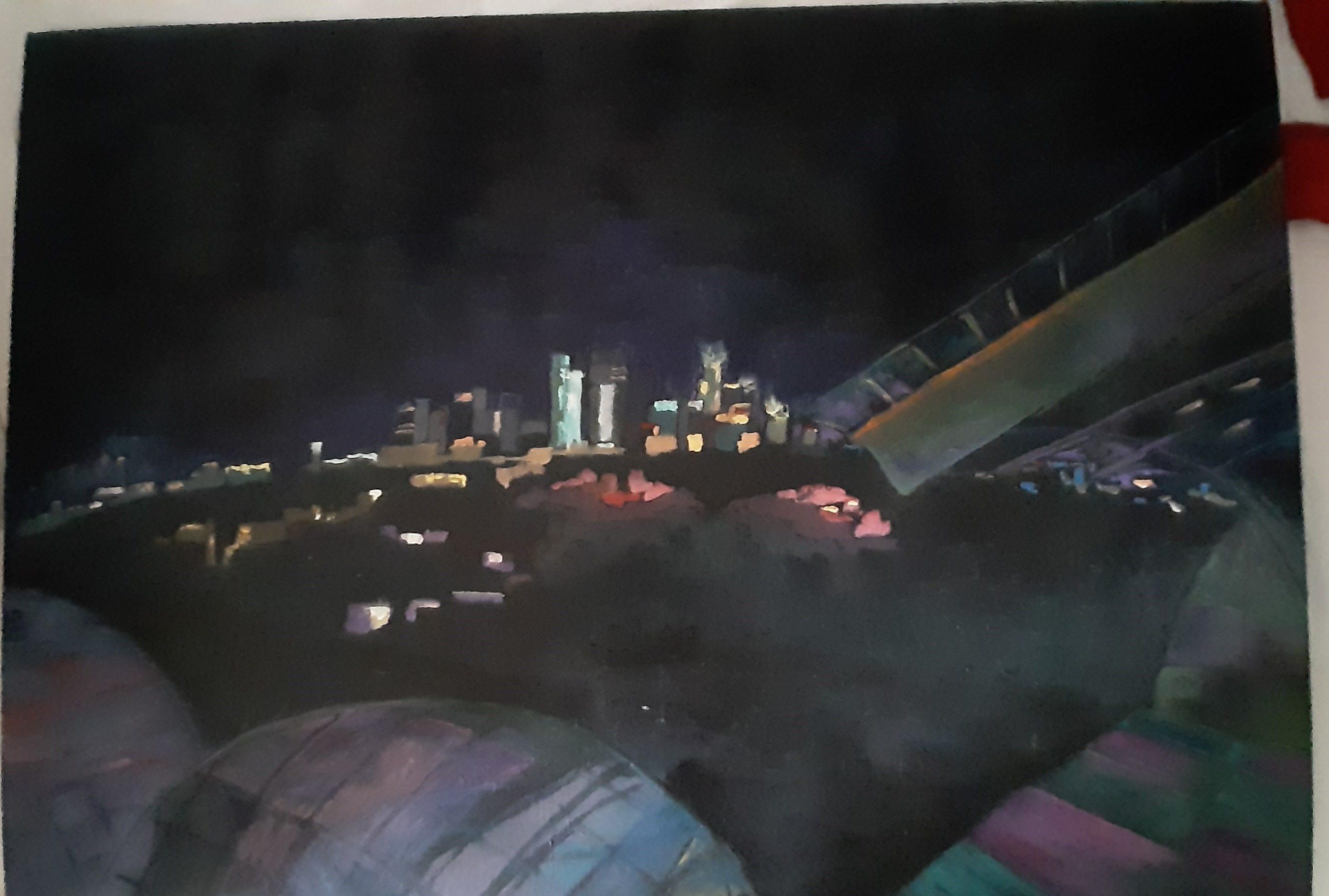 Hôtes et artistes en poitou - Vue de La Défense depuis Fondation Louis Vuitton - Huile sur Toile